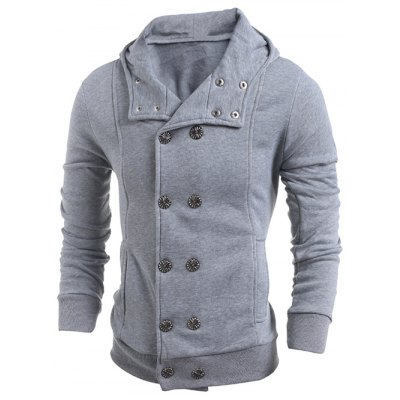 Long Sleeve Side Pocket Double Breasted Hoodie