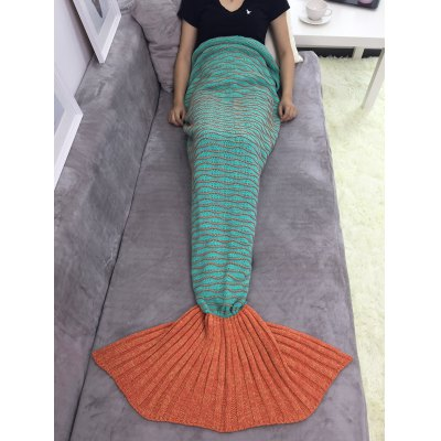 Knitted Wave Stripes Mermaid Tail Blanket