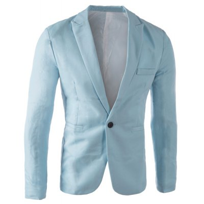 Tailored Collar Single Button Solid Color Blazer