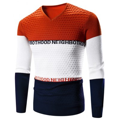 V-Neck Color Block Splicing Graphic Print Long Sleeve Sweater