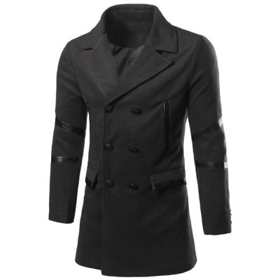 Back Double-Breasted Vent Notch Lapel Faux Leather Insert Pea Coat