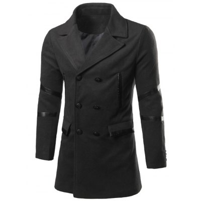 Back Vent Lapel Faux Leather Insert Pea Coat