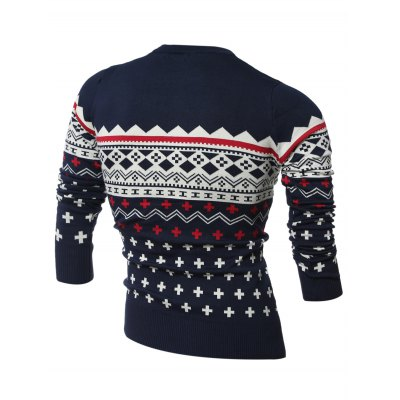Crew Neck Geometric Pattern Long Sleeve SweaterMens Sweaters &amp; Cardigans<br>Crew Neck Geometric Pattern Long Sleeve Sweater<br><br>Type: Pullovers<br>Material: Cotton,Polyester<br>Sleeve Length: Full<br>Collar: Crew Neck<br>Style: Fashion<br>Weight: 0.700kg<br>Package Contents: 1 x Sweater
