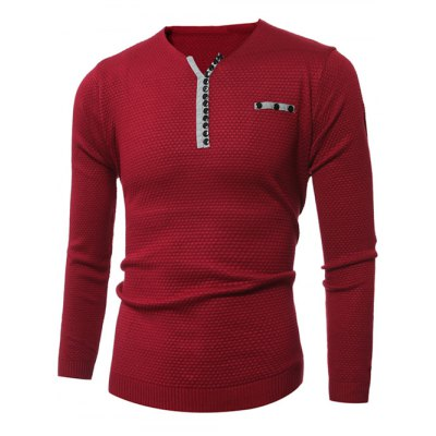 Notch Neck Zipper Embellished Popcorn Knitted SweaterMens Sweaters &amp; Cardigans<br>Notch Neck Zipper Embellished Popcorn Knitted Sweater<br><br>Type: Pullovers<br>Material: Acrylic,Polyester<br>Sleeve Length: Full<br>Collar: V-Neck<br>Style: Casual<br>Weight: 0.550kg<br>Package Contents: 1 x Sweater