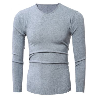 V-Neck Stretchy Pullover Knitwear