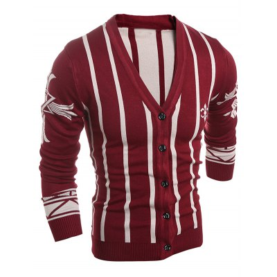 Graphic V Neck Pinstripe Button Up CardiganMens Sweaters &amp; Cardigans<br>Graphic V Neck Pinstripe Button Up Cardigan<br><br>Type: Cardigans<br>Material: Cotton Blends<br>Sleeve Length: Full<br>Collar: V-Neck<br>Style: Casual<br>Weight: 0.550kg<br>Package Contents: 1 x Cardigan