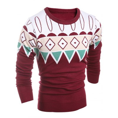 Geometric Pattern Ribbed Crew Neck SweaterMens Sweaters &amp; Cardigans<br>Geometric Pattern Ribbed Crew Neck Sweater<br><br>Type: Pullovers<br>Material: Polyester<br>Sleeve Length: Full<br>Collar: Crew Neck<br>Technics: Computer Knitted<br>Style: Fashion<br>Weight: 0.450kg<br>Package Contents: 1 x Sweater