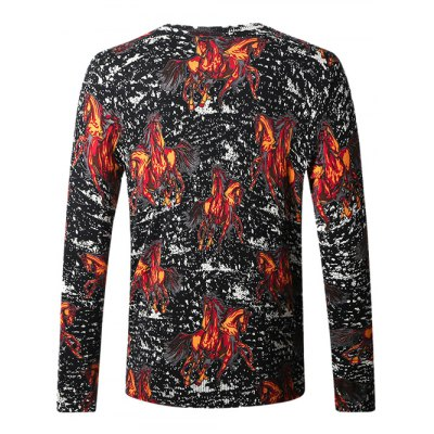 Pullover Horse Print SweaterMens Sweaters &amp; Cardigans<br>Pullover Horse Print Sweater<br><br>Type: Pullovers<br>Material: Cotton Blends<br>Sleeve Length: Full<br>Collar: Crew Neck<br>Style: Casual<br>Weight: 0.450kg<br>Package Contents: 1 x Sweater