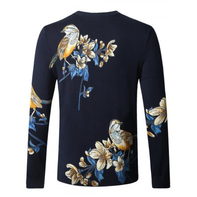 Bird Floral Print Pullover SweaterMens Sweaters &amp; Cardigans<br>Bird Floral Print Pullover Sweater<br><br>Type: Pullovers<br>Material: Cotton Blends<br>Sleeve Length: Full<br>Collar: Crew Neck<br>Style: Casual<br>Weight: 0.450kg<br>Package Contents: 1 x Sweater