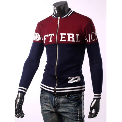 Zip Up Letter Graphic CardiganMens Sweaters &amp; Cardigans<br>Zip Up Letter Graphic Cardigan<br><br>Type: Cardigans<br>Material: Cotton Blends<br>Sleeve Length: Full<br>Collar: Stand Collar<br>Style: Fashion<br>Weight: 0.550kg<br>Package Contents: 1 x Cardigan