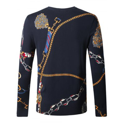 Wolf Chain Print Pullover SweaterMens Sweaters &amp; Cardigans<br>Wolf Chain Print Pullover Sweater<br><br>Type: Pullovers<br>Material: Cotton Blends<br>Sleeve Length: Full<br>Collar: Crew Neck<br>Style: Casual<br>Weight: 0.450kg<br>Package Contents: 1 x Sweater