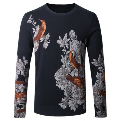 Birds Floral Print Pullover Sweater