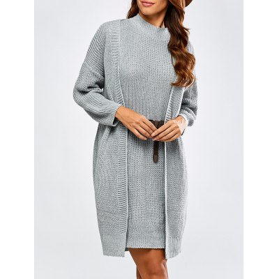 High Neck Belted Sweater Dress and Collarless Cardigan