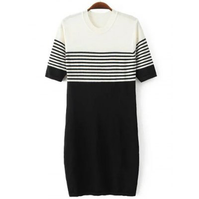 Stripe Color Block Knitted Dresses