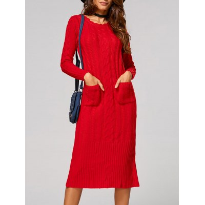 Cable-Knit Back Slit Pocket Design Dress