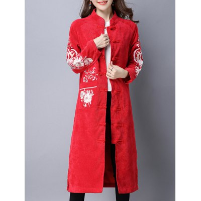 Frog Button Embroidered Corduroy Long Coat
