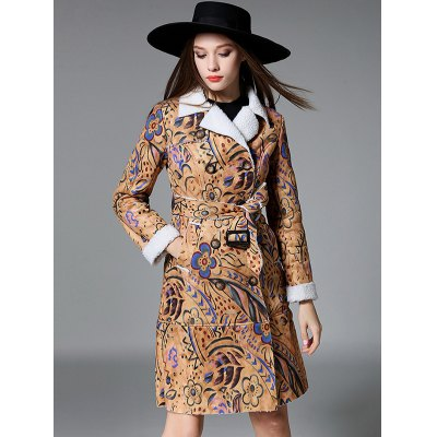 Floral Print Long Belted Trench Coat