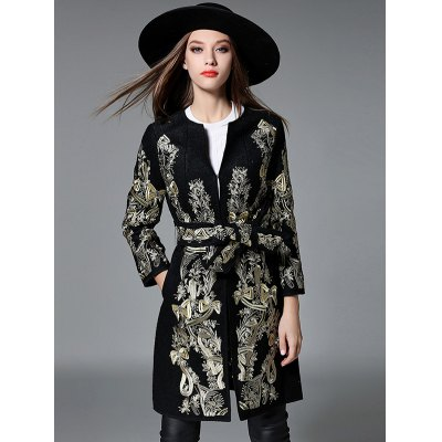 Gold Thread Embroidered Belted Wool Coat