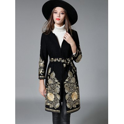 Slim Gold Thread Embroidered Long Wool Coat