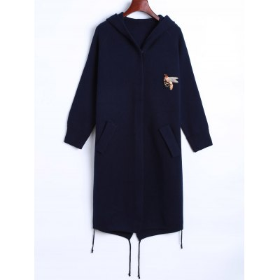Plus Size Bee Embroidered Back Slit Coat