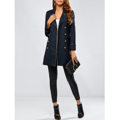 Contrast-Trim Double-Breasted Blazer