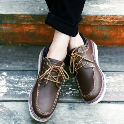 PU Leather Stitching Lace-Up Work Shoes