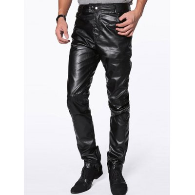 Zipper Fly PU-Leather Narrow Feet Pants