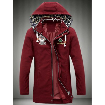 Cartoon Printed Zip-Up Applique Hooded Jacket