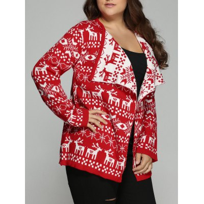 Plus Size Christmas Jacquard CardiganPlus Size Outerwear<br>Plus Size Christmas Jacquard Cardigan<br><br>Type: Cardigans<br>Material: Polyester<br>Sleeve Length: Full<br>Collar: Turn-down Collar<br>Style: Fashion<br>Season: Fall,Spring<br>Pattern Type: Character<br>Weight: 0.475kg<br>Package Contents: 1 x Cardigan