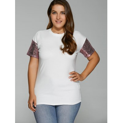 Plus Size Drop Shoulder Sequined Sleeve T-Shirt