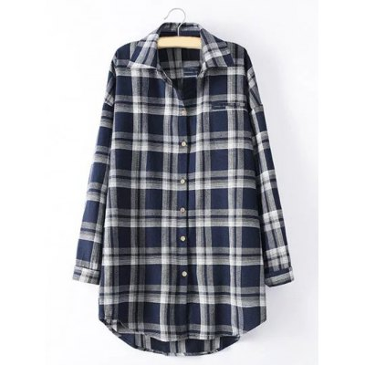 Long Sleeve Checked Long Shirt