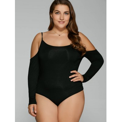 Plus Size Dew Shoulder Long Sleeve Bodysuit