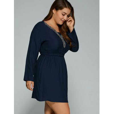 Plus Size Beading V Neck Mini Dress