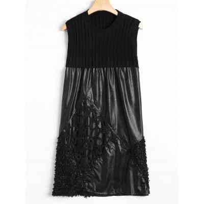 Casual Cut Out Lace Rhombus and Knit Patch PU Dress