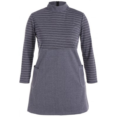 Striped Insert Plus Size Tunic Dress