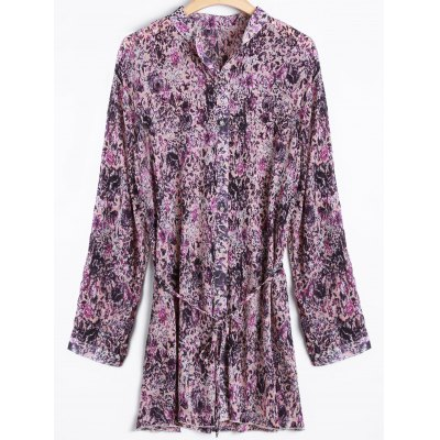 Tiny Floral Belted Plus Size Shirt Dress