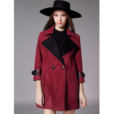 Double Breasted 3/4 Sleeves Wool Coat