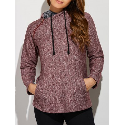 Inclined Zipper Front Pocket Hoodie