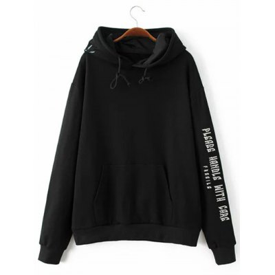 Letter Rose Embroidery Hoodie
