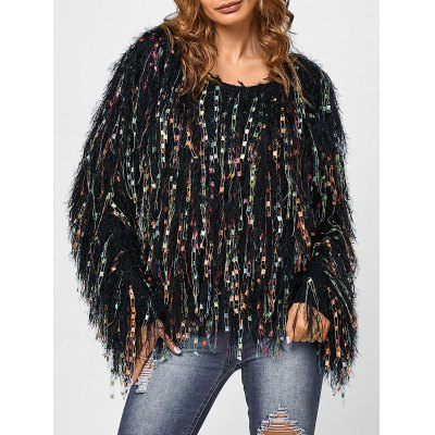 Fringed Colorful Dot Sweater