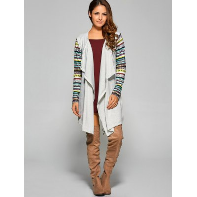 Draped Cardigan with Geometry Print