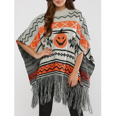 Hallowmas Jacquard Fringed Cape Sweater