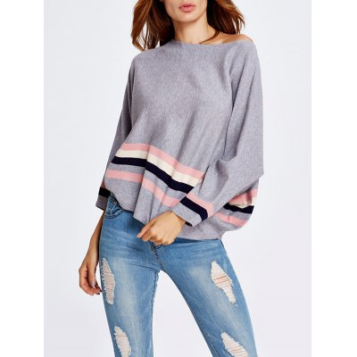 One-Shoulder Color Block Loose Knitwear