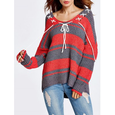 Lace-Up Color Block Sweater