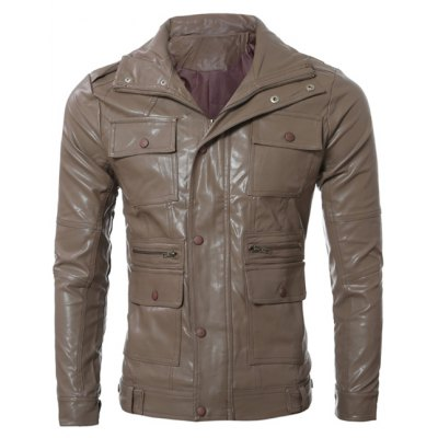 Multi Pocket Design PU Leather Jacket