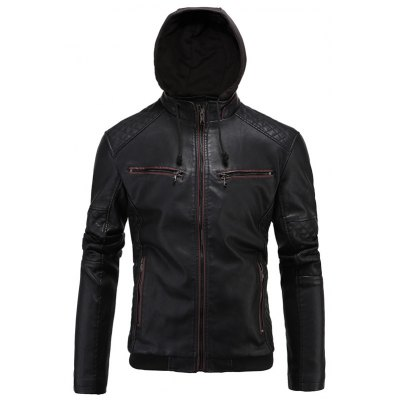 Hooded Zip-Up PU-Leather Jacket