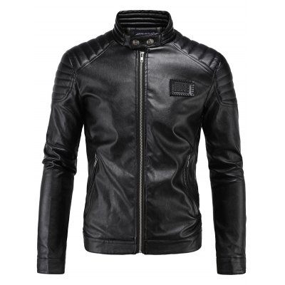 Rib Splicing Zip-Up Applique PU-Leather Jacket
