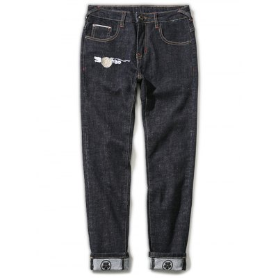 Zipper Fly Plus Size Chinoiserie Crane Embroidered Straight Leg Printed Jeans
