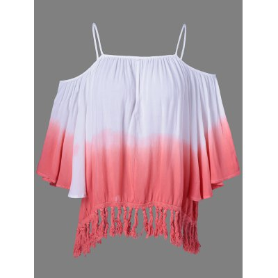 Fringed Ombre Color Blouse