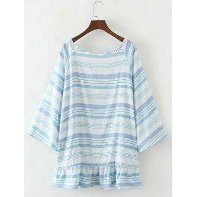 Bell Sleeve Backless Stripe Blouse